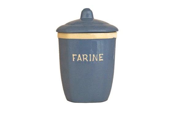 Art Deco Ceramic Flour Canister, Antique French Kitchen Storage Jar