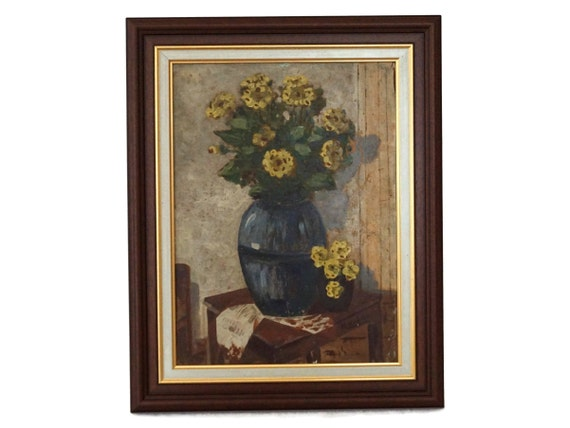 Yellow Flowers in Vase Painting, Antique French Floral Bouquet Still Life Art