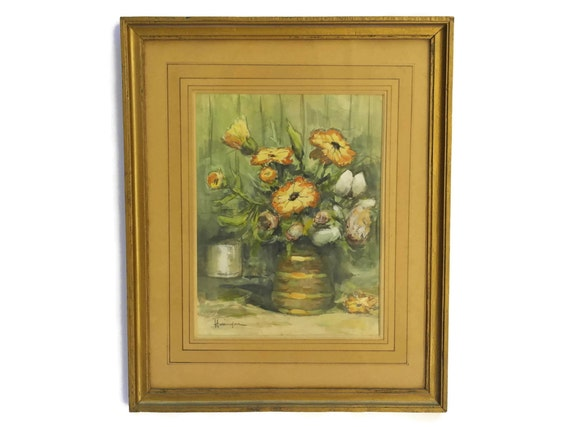Orange Flowers in Vase Still Life Watercolor Painting, Original Art, French Antique Floral Painting in Frame