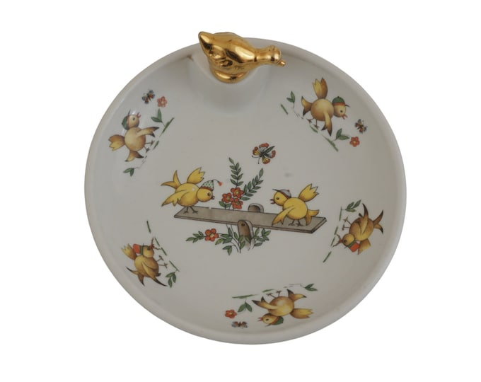 Vintage Porcelain Baby Feeding Dish with Chicks