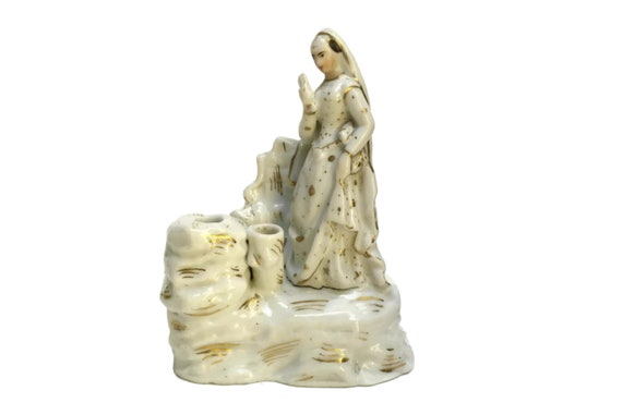 Antique Porcelain Lady Inkwell with Bride Figurine, Ink Pot and Pen Holder