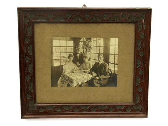 Antique Framed Phorograph with Edwardian Ladies Fashion.