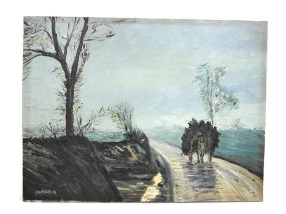 Winter Landscape Painting with Donkey Cart. Vintage French Original Art on Board. Rustic Country Wall Decor.