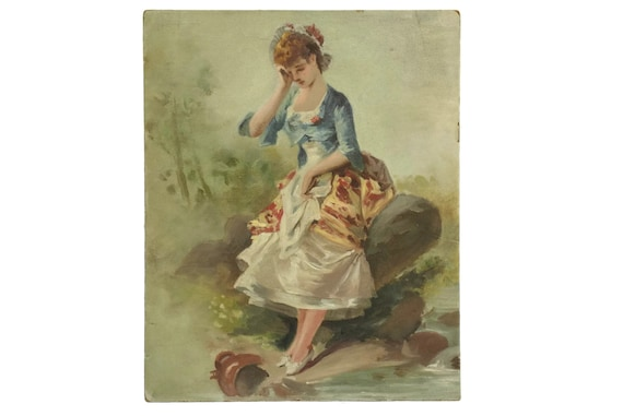 Rococo Art Portrait of Lady in Country Landscape, Antique French Romantic Oil Painting