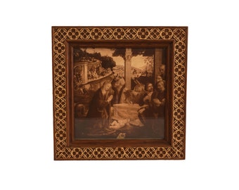 Antique Christmas Nativity Scene Print of the Adoration of the Shepherds by Domenico Ghirlandaio in Gothic Wooden Frame, Christian Art