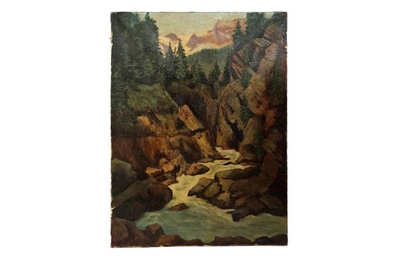 Mountain Valley River Ravine Painting, Scenic French Landscape Art