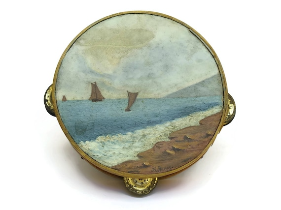 Hand Painted French Antique Tambourine.
