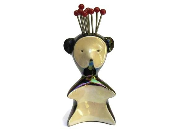 Mid Century Modern Lusterware Ceramic Bear Figurine Cocktail Fork Holder.