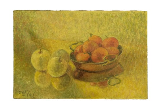 Copper Pan and Fruit Painting, French Still Life Art with Clementine and Apple