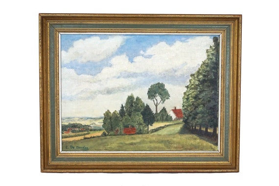 French Farm and Country Landscape Painting, Rustic Art and Home Decor