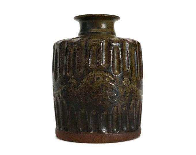 Mid Century Art Pottery Vase, French MCM Ceramic