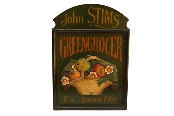 Vintage Greengrocer Wooden Wall Sign, Vegetable and Fruit Basket, Country Kitchen Decor
