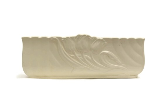 Art Deco Planter. Spode Velamour White Ceramic Tulip Vase. Vintage White Glazed Ceramic Jardiniere.