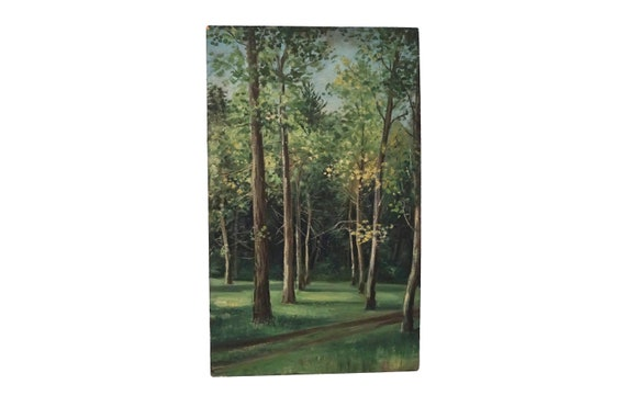French Forest Clearing Painting, Scenic Woodland Landscape Art with Trees