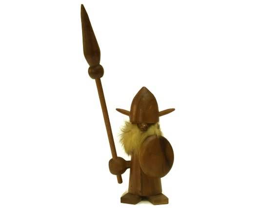 Scandinavian Teak Wood Viking Doll