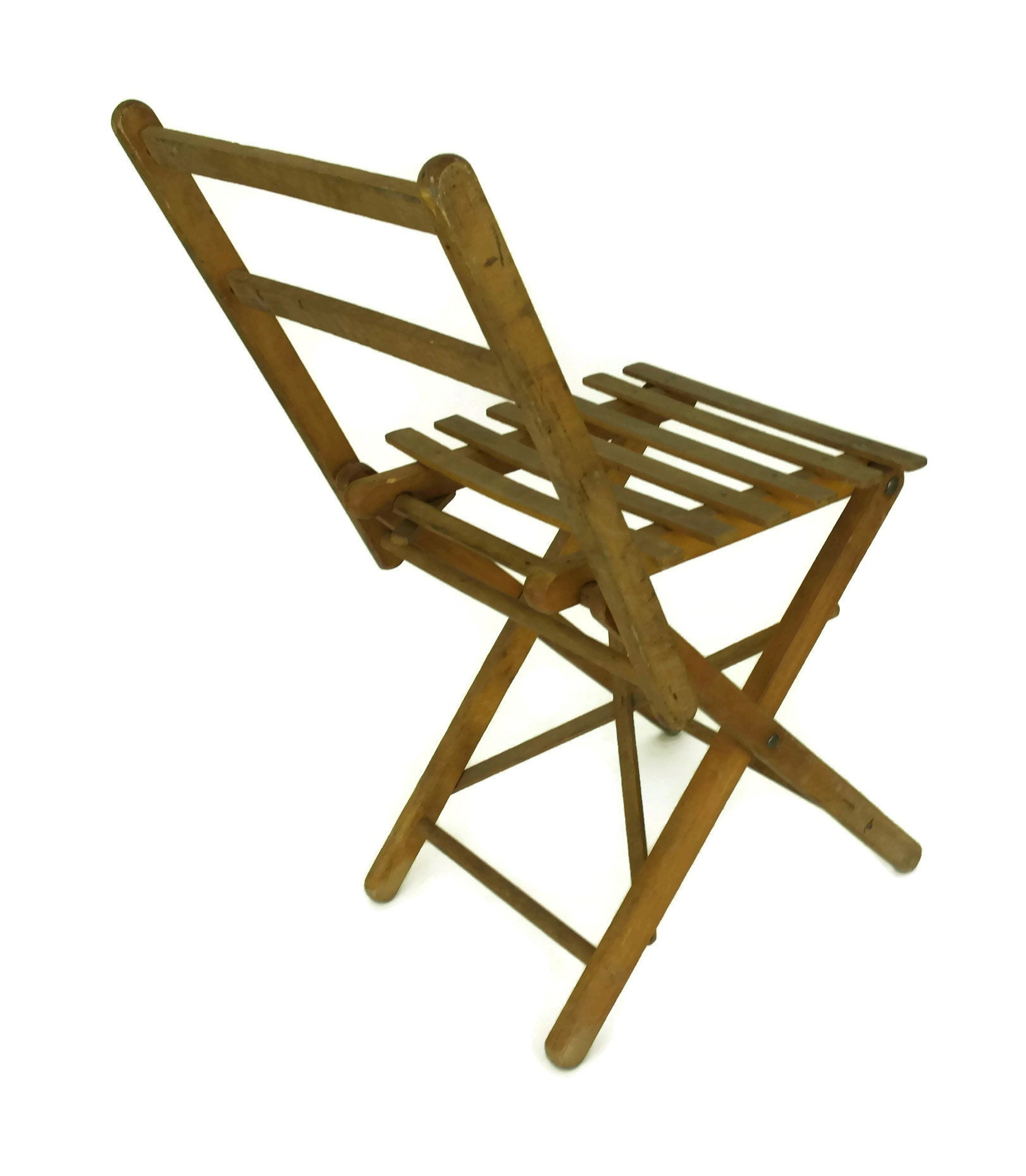 Vintage French Wood Folding Stool Small Rustic Fishing