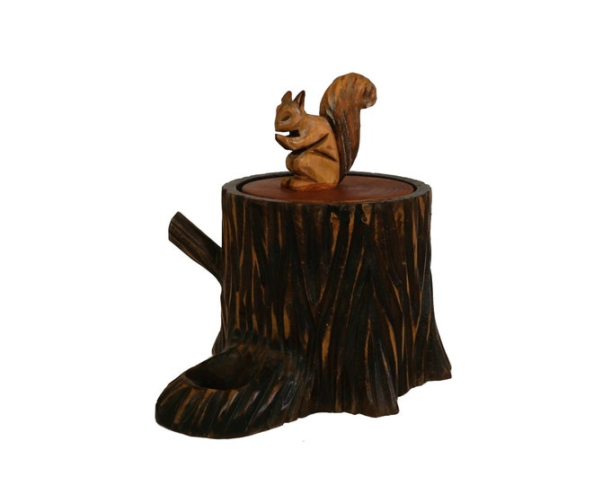 Wooden Tobacco Jar and Pipe Holder Stand with Hand Carved Woodland Squirrel, Tree Trunk Canister