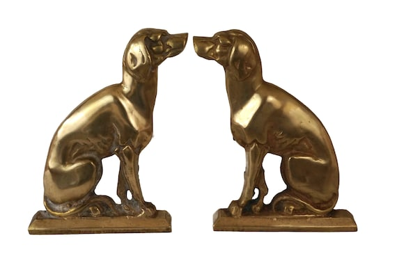 Antique French Bronze Dog Andirons, Pair of Animal Figure Firedogs, Fireplace Decor