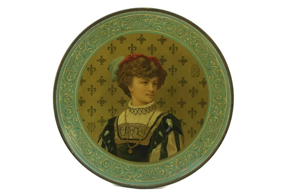 Antique Litho Tin Art Plate With Renaissance Man Portrait, Victorian Home Wall Decor