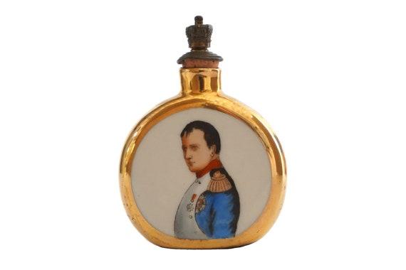 Napoleon Bonaparte Portrait Perfume Bottle, Antique German Porcelain Military Collectible
