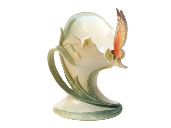 Franz Porcelain Tealight Candle Holder, Vintage Majolica Butterfly, Collectible Art Ceramic