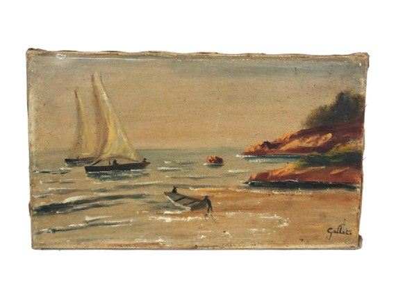 Antique Seascape and Sailing Boat Painting, French Coastal Art