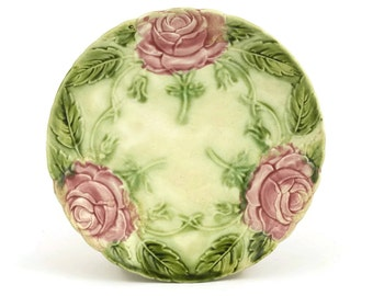 French Antique  Majolica Rose Plate.  Retro Pink Kitchen Decor.  Green Majolica Leaf Wall Plate.