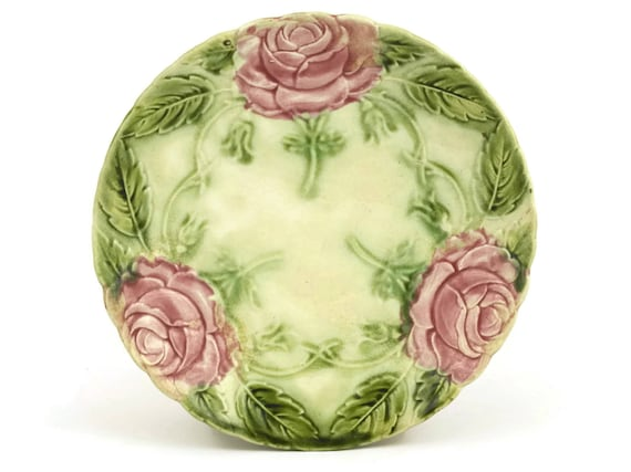 Antique French Majolica Rose Plate, Collectible Majolica Leaf, Decorative Wall Plate