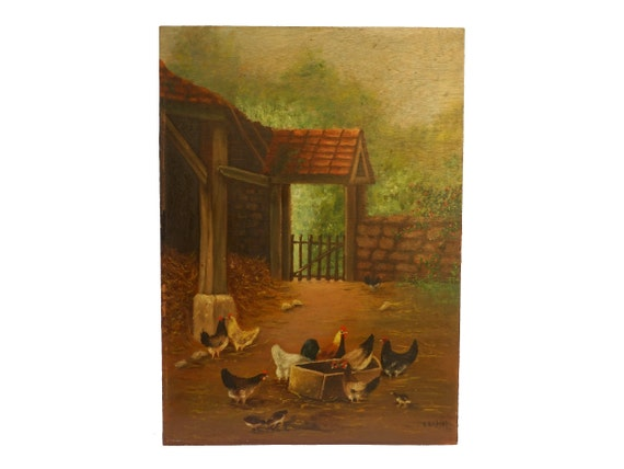 French Hens in Barnyard Painting, Rustic Country Farm Art
