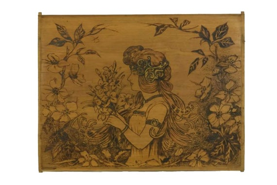 Art Nouveau Pyrography Wood Panel, Belle Epoque Woman Portrait,  Art Wall Hanging