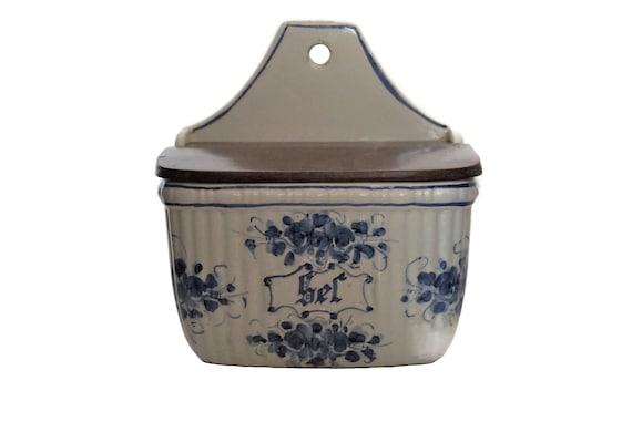 Vintage French Porcelain Salt Box, Hand Painted Ceramic Cellar,  Country Kitchen Decor