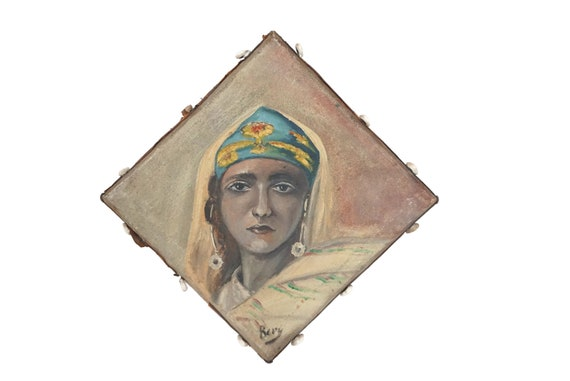 Antique Orientalist Woman Portrait Painting, Moroccan Lady Art