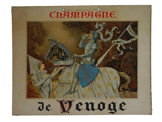 Antique French Champagne Advertising Poster for De Venoge, Bar and Wine Cellar Wall Sign