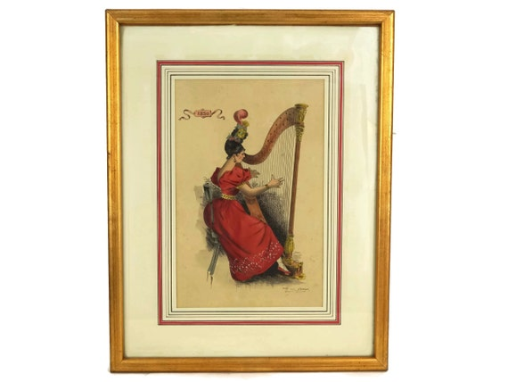Antique Harp Player Lady Portrait Drawing, Framed Watercolor Painting, Music Decor and Art Gifts