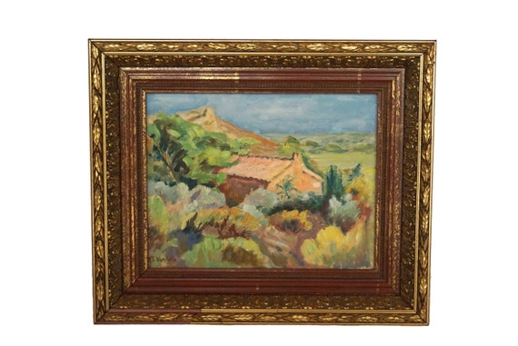 Provence Country Landscape Painting with Mount Sainte Victoire and Farmhouse, Original Framed French Wall Art