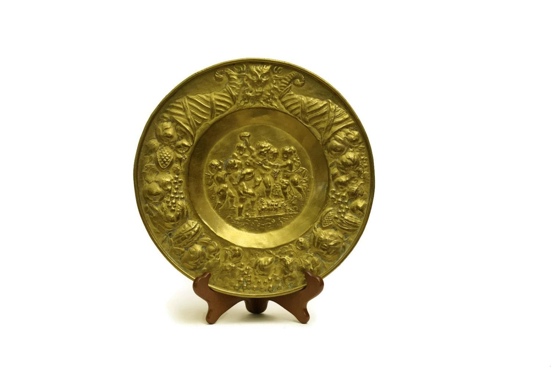 Antique Brass Cherub Wall Plate. French Antique Plate. Cherub Decor ...