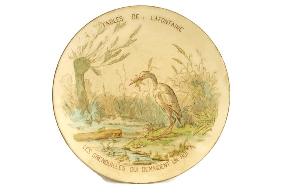 Fables of La Fontaine Antique Wall Plate, The Frogs who Wanted a King