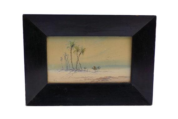 Antique Desert Oasis Landscape and Camel Watercolor Painting, Original Signed Orientalist Art