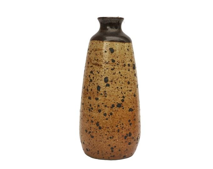 Mid Century French Pottery Vase, Art Studio Ceramic with Mottled Glaze