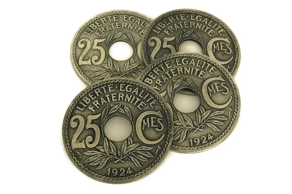 Vintage French Coin Drink Coasters, Set of 4 Bottle Rests,  1924 Lindauer 25 centimes Money Mats, Numismatist Gift and Bar Decor