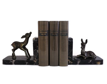 Art Deco Deer Figurine Bookends, French Bambi Statues, Woodland Office and Desk Decor