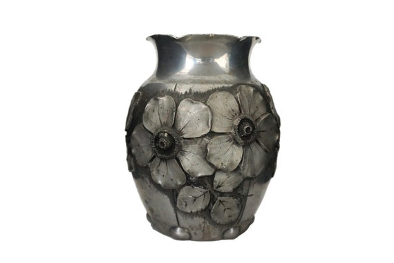 French Art Deco Pewter Vase by L Houzeaux with Anemone Flowers