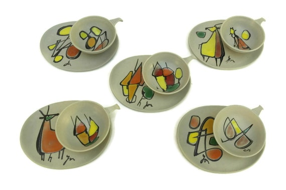 Midcentury Pottery Coffee Cup Set
