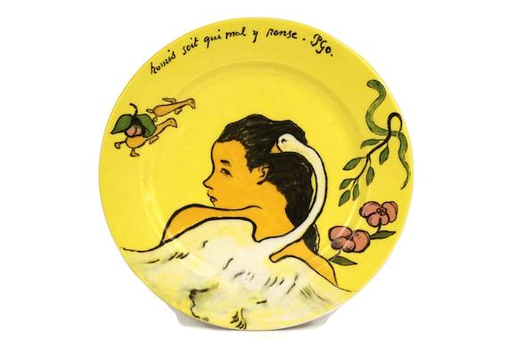 Gauguin Leda and the Swan Coin Dish, Small Vintage Gien Porcelain Plate, Greek Mythology, French Art