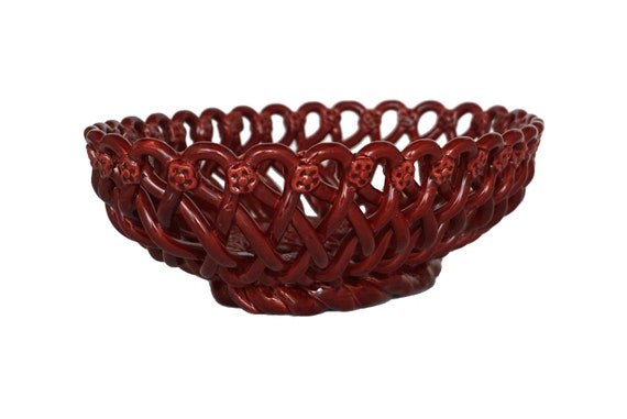 French Pottery Basket Weave Fruit Bowl by Pichon of Uzes, Ceramic Table Centerpiece
