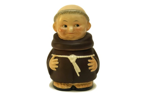 Vintage Goebel Friar Tuck Sugar Pot, Western German Ceramic Sweetener Bowl, Collectible Monk, Gift for Her