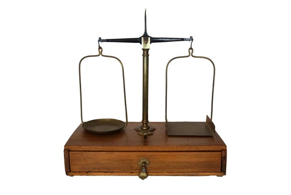 French Brass Postal Scales by Testut with Set of Weights, Large Precision Trebuchet Scale Balance