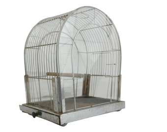 Art Deco Metal and Glass Bird Cage