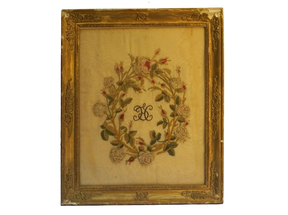 Antique Rose Chenille Embroidery with Monogram Initials H S, Framed French Needlework Art