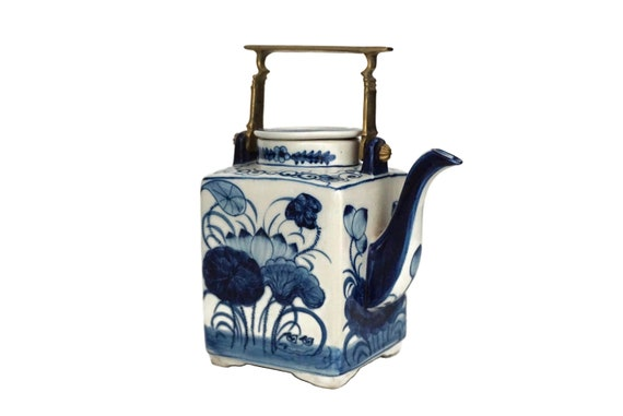Chinese Export Porcelain Square Teapot with Brass Handle and Hand Painted Blue & White Chinoiserie Flowers